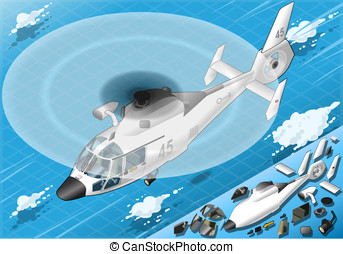 Isometric White Helicopter in Flight in Front View