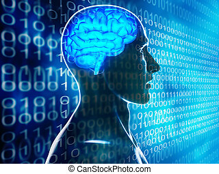 human brain technology background