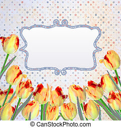 Vintage tulips card with polka dot. EPS 10 - Vintage tulips...