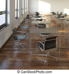 Classic Office Interior With Tables And Chairs