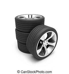 alumínio, rodas, pneus