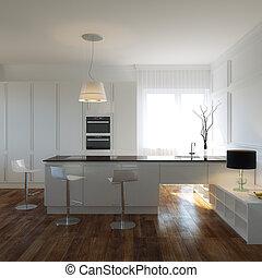 Luxurious Kitchen Cabinet In Mansion