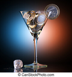 Metaphoric Business Cocktail Created Out Of Euro Coins