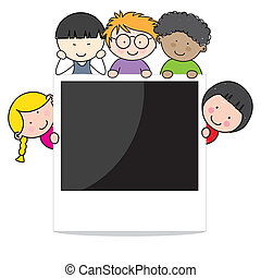 Children with photo frame. Space for photo or text