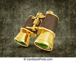 binoculars - gold binoculars isolated on a dirty background...