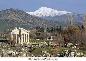 Ruins of Aphrodisias and snow mountain, Turkey...