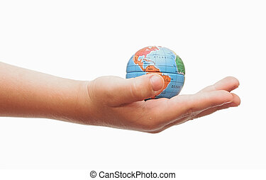 Child holding a globe in hand