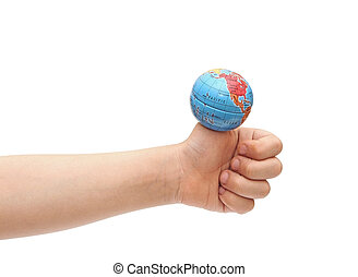 Closeup to a child's hand holding the globe on his finger