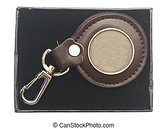 keychain with blank metal plate in box