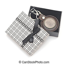 keychain with blank metal platein gift box