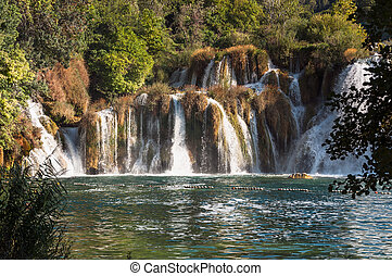 Waterfall, Krka National Park, Croatia - Waterfall in Krka...
