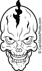 Retro Skull Tattoo Vector - Drawing Art of Cartoon Retro...