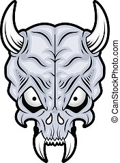 Skull Long Horn and Teeth Vectors - Drawing Art of Cartoon...