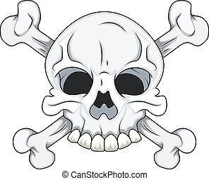 Skull and Crossbone - Drawing Art of Cartoon Danger Sign...