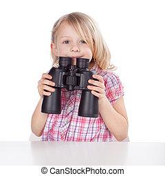 poco, niña, par, binoculares