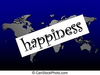 glück, Wort, blaues, Welt, ma