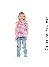 Cute Girl Standing Against White Background - Full length...