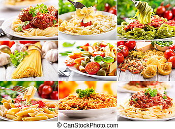 different pasta - collage with different pasta