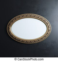 Classic Carved Frame On Black Wall Oval Horizontal Version