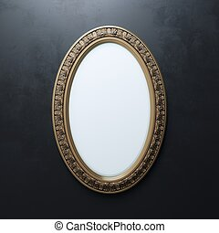 Carved Frame On Black Wall Oval Vertical Version