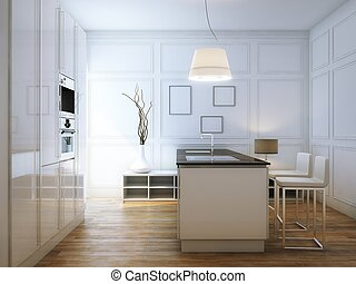 Beige Hi-Tech Kitchen With Bar and lighter