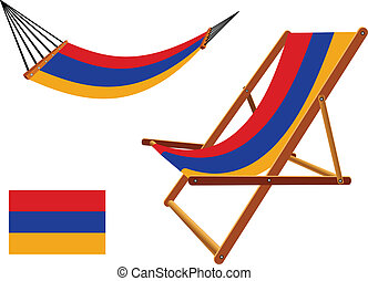 armenia hammock and deck chair set against white background,...