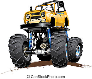 Cartoon Monster Truck one-click repaint - Vector Cartoon...