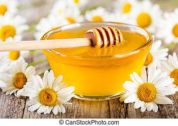 tazón, miel, margarita, flores