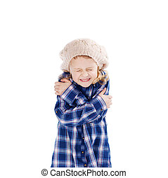 Girl Shivering Against White Background - Cute girl...