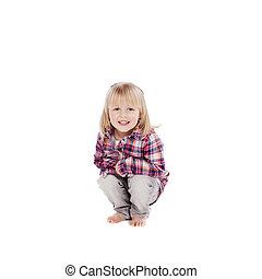Little girl crouching down - Cute pretty little blond girl...