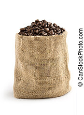 bag of coffee - jute sack full of coffee beans on white...