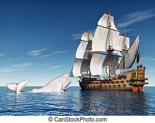 Sailing Ship with White Whale - Computer generated 3D...