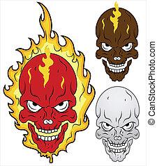 Skull in Flames Vector Illustration - Drawing Art if Cartoon...