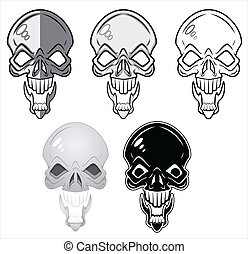 Skulls Vector Illustrations - Drawing Art of Cartoon Skulls...