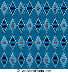 Mechanical seamless pattern with diamond shaped metal panels