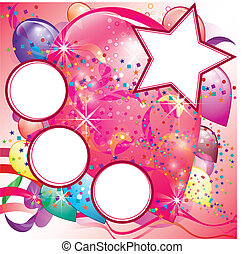 Balloons Party Invitation card for Girl with white space