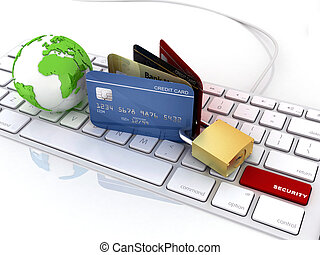 credit card over laptop keyboard