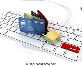 credit card over laptop keyboard with