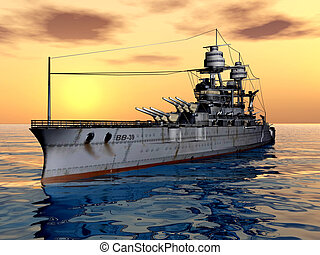 American Battleship USS Arizona - Computer generated 3D...