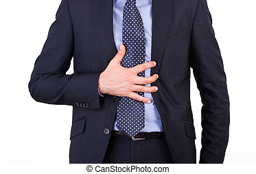 Businessman suffering from heartburn.