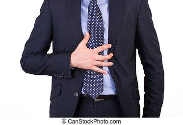 hombre de negocios, sufrimiento, acidez