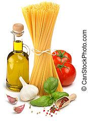 Espaguetis, botella, aceituna, aceite, tomates, hierbas