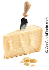 piece of Parmesan cheese with knife on white background
