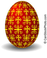 red egg - The easter celebratory red egg painted by crosses...
