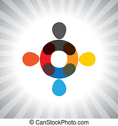abstract colorful people united together- simple vector graphic