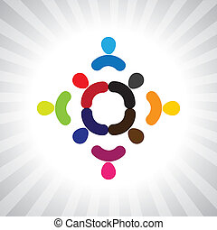 abstract colorful children playing in circle- simple vector grap