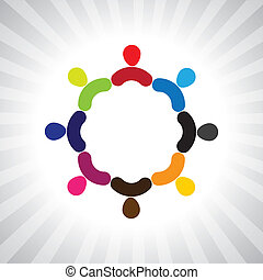 colorful community of people as a circle- simple vector graphic