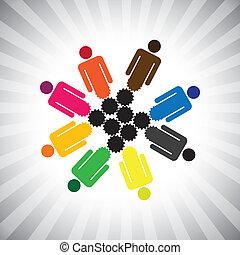 people community as cog wheels working in harmony- simple...