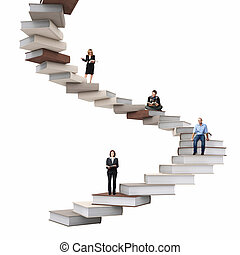 wisdom stair - businesspeople on 3d abstract books stair