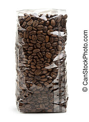 coffee bag - clear plastic bag of coffee beans isolated on...